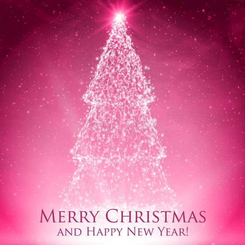 Glänsande julträd på färgrik röd bakgrund med panelljuset och glödande partiklar abstrakt bakgrundsvektor stock illustrationer