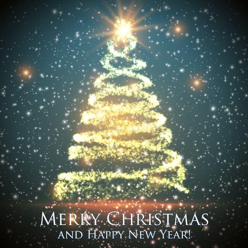Glänsande julträd på grön bakgrund med panelljuset och glödande partiklar abstrakt bakgrundsvektor vektor illustrationer