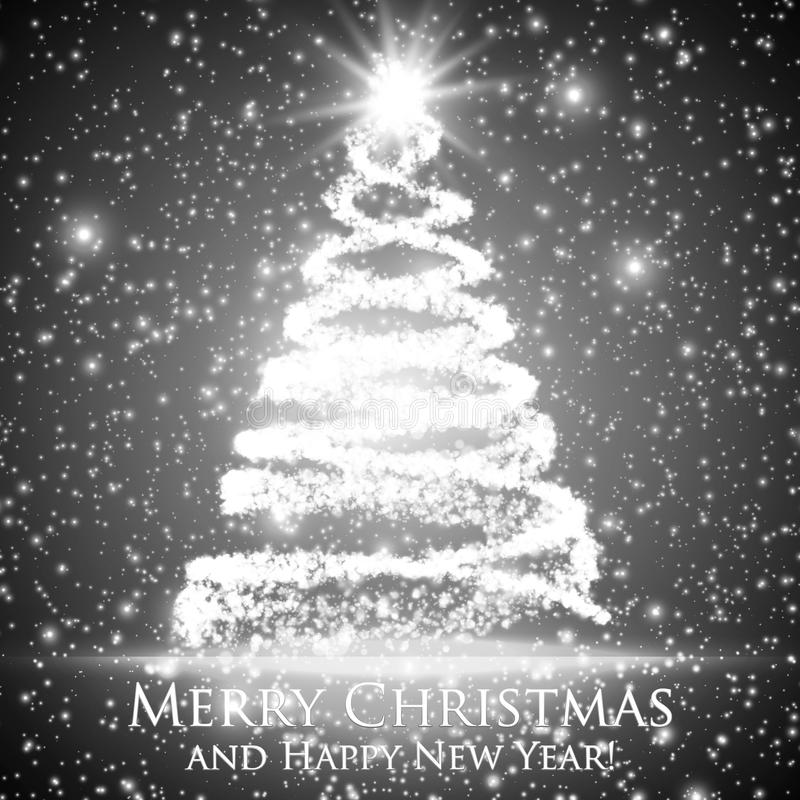 Glänsande julträd på monokrom bakgrund med panelljuset och glödande partiklar abstrakt bakgrundsvektor royaltyfri illustrationer