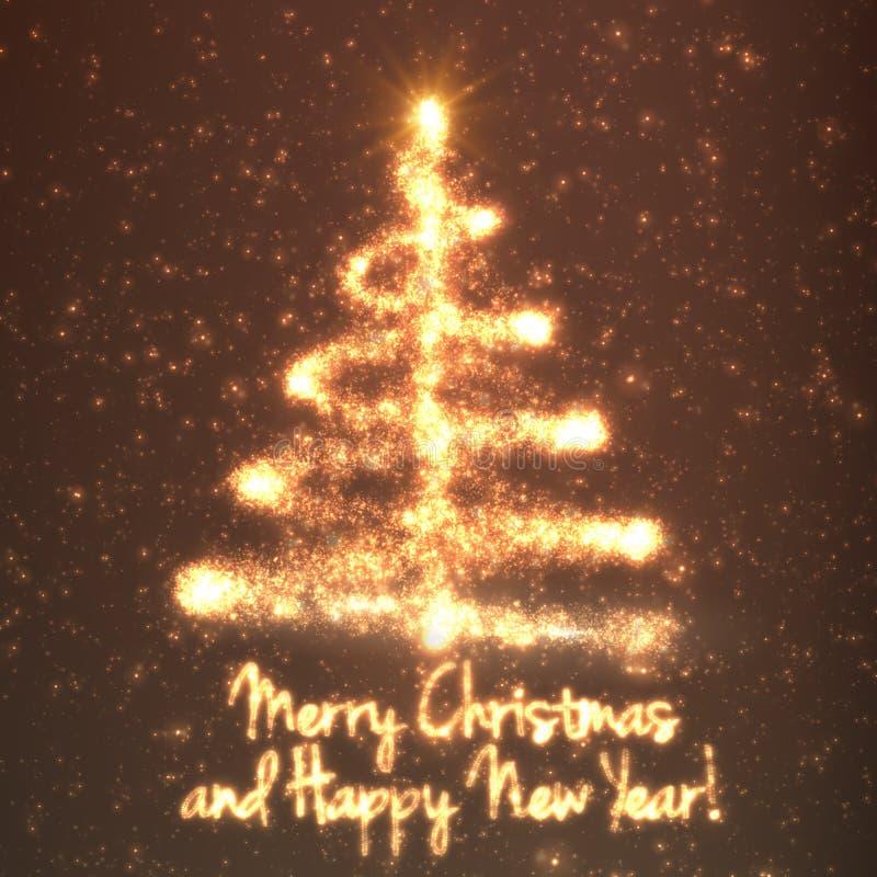 Glänsande julträd på orange bakgrund med panelljuset och glödande partiklar abstrakt bakgrundsvektor stock illustrationer