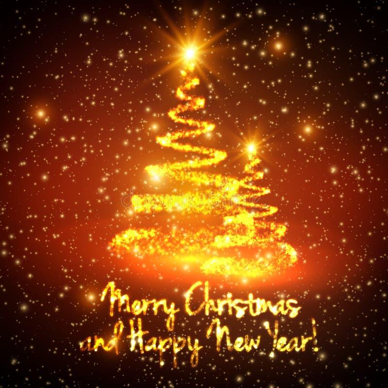 Glänsande julträd på röd bakgrund med panelljuset och glödande partiklar abstrakt bakgrundsvektor stock illustrationer