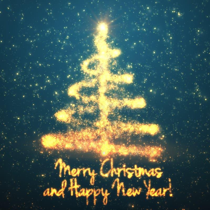 Glänsande julträd på turkosbakgrund med panelljuset och glödande partiklar abstrakt bakgrundsvektor royaltyfri illustrationer