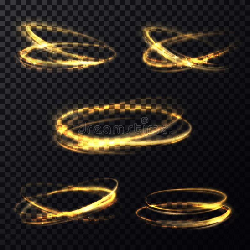 Glänsande ljus ringer på genomskinlig bakgrund stock illustrationer