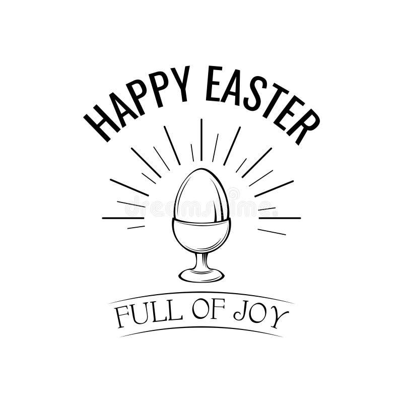Glänsande lycklig påskdagbokstäver och ägg _ Full ogglädje vektor vektor illustrationer
