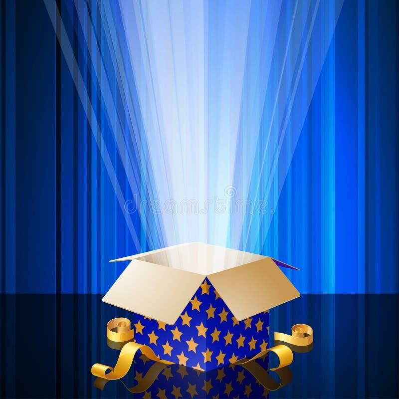 Glänsande magisk gåvaask royaltyfri illustrationer