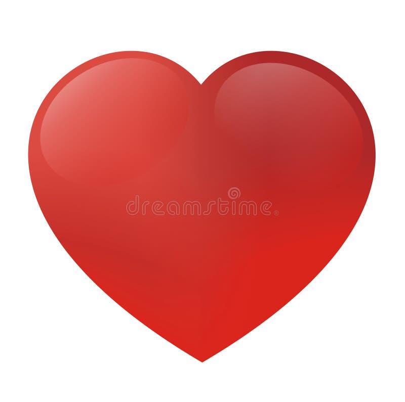 Glänsande röd hjärta 3D royaltyfria bilder