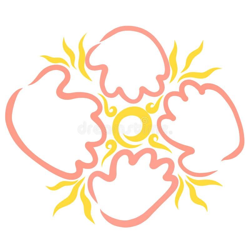 Glänsande sol och händer runt om den, logo vektor illustrationer