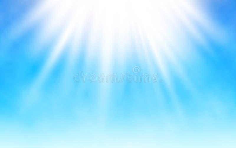 Glänsande sol på blå himmel Vitmoln och ljusa solstrålar varm dagsommar Realistisk vektorillustration stock illustrationer