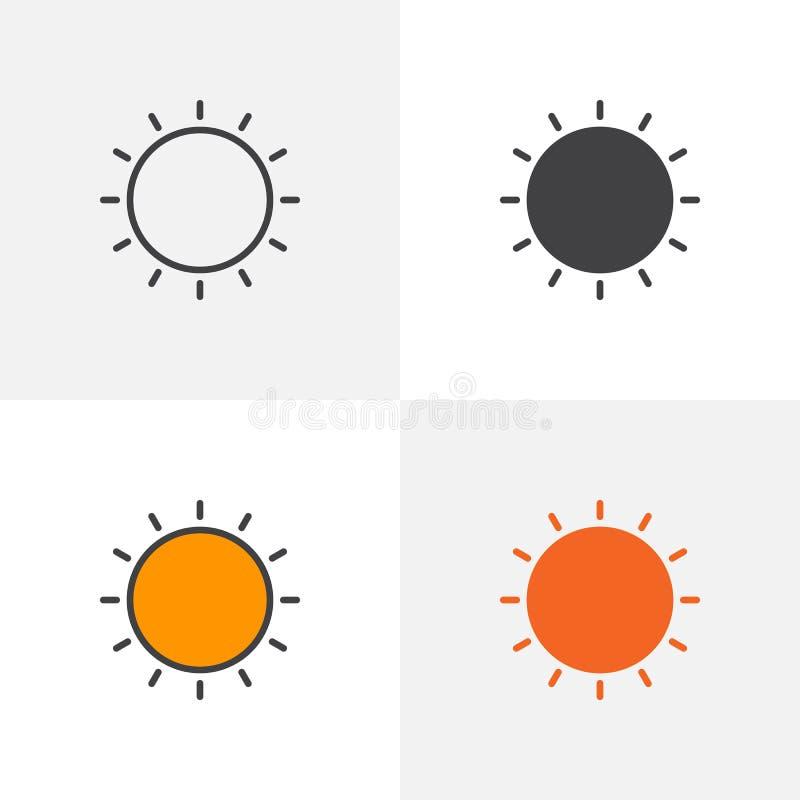 Glänsande symbol för sol stock illustrationer
