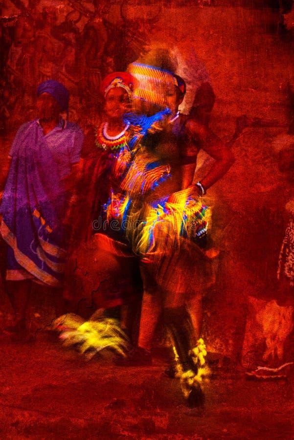 Glänzend farbiger afrikanischer männlicher Tänzer Portrait in der Bewegung gegen einen roten strukturierten Hintergrund lizenzfreie stockfotos