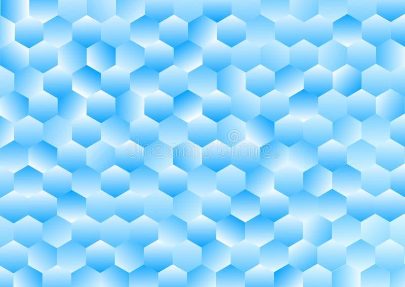 Glänzende blaue Hexagone Gradated masern Hintergrund lizenzfreie abbildung