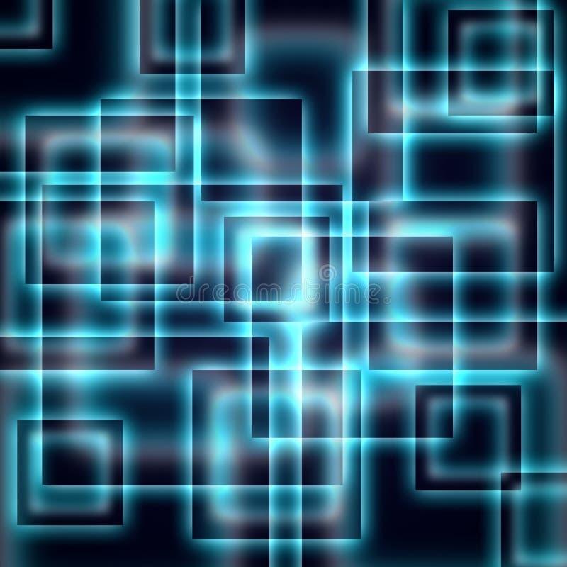 Glänzende blaue Quadrate auf einem dunklen Hintergrund lizenzfreie abbildung