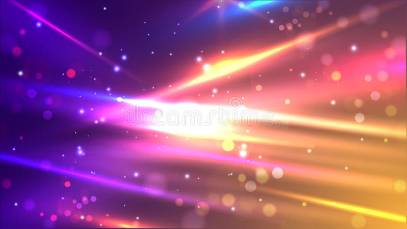 Glänzende bunte Geschwindigkeitslinien auf abstraktem bokeh Bewegungshintergrund stock abbildung