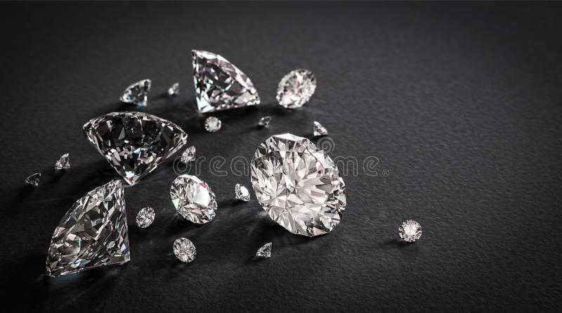 Glänzende Diamanten auf schwarzem Hintergrund stockfotografie