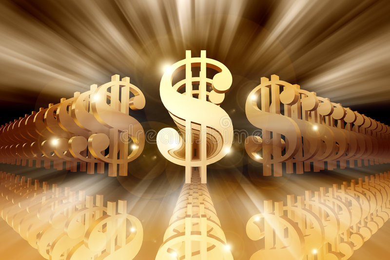 Glänzende Dollar-Zeichen stock abbildung