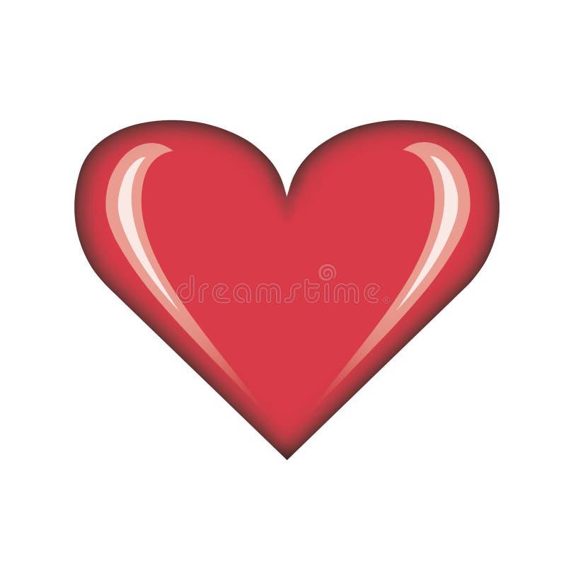 glänzende einzelne rote Valentinstagkartenebenen-Herzillustration lizenzfreie abbildung