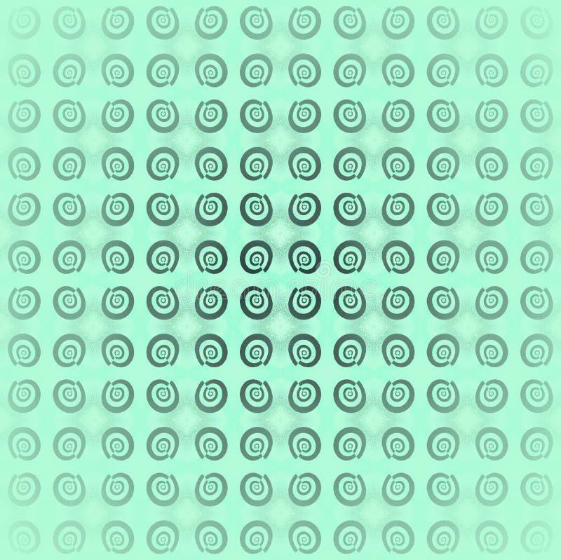 Glänzende empfindliche Spiralen kopieren Grau auf dem tadellosen zentrierten und verwischten Grün vektor abbildung