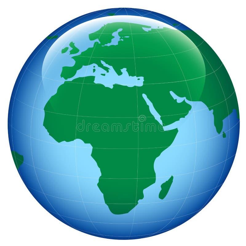 Glänzende Erdekarte stock abbildung