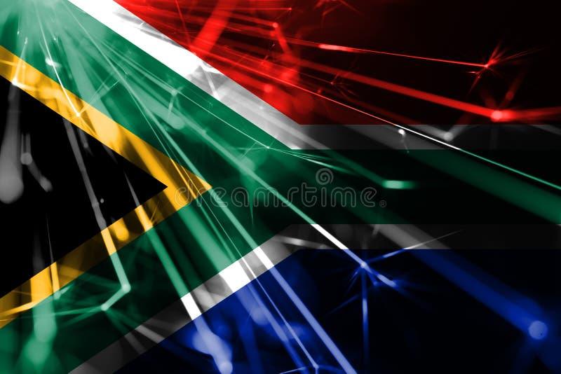 Glänzende funkelnde Flagge Feuerwerke Südafrikas Parteikonzeptflagge des neuen Jahres 2019 und des Weihnachten futuristische glän lizenzfreie abbildung