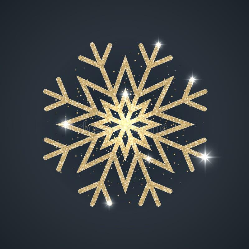 Glänzende funkelnde goldene abstrakte Schneeflocke stock abbildung