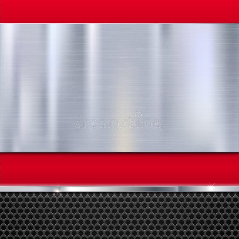 Glänzende gebürstete Metallplatte mit Schrauben vektor abbildung