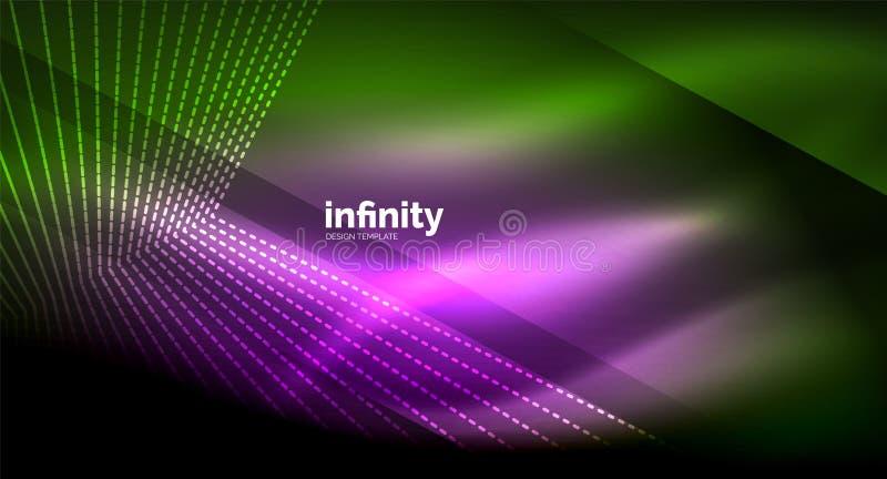 Glänzende Geraden auf dunklem Hintergrund, techno digitale moderne Schablone vektor abbildung