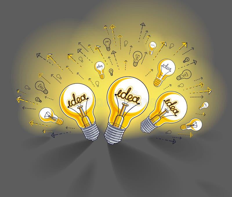 Glänzende Glühlampe und Satz Glühlampenikonen, Ideen kreatives Konzept, Geistesblitzallegorie vektor abbildung