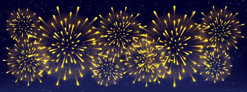Glänzende goldene Feuerwerke auf sternenklarem Himmelhintergrund - horizontale panoramische Fahne für Feiertagsentwurf lizenzfreie abbildung