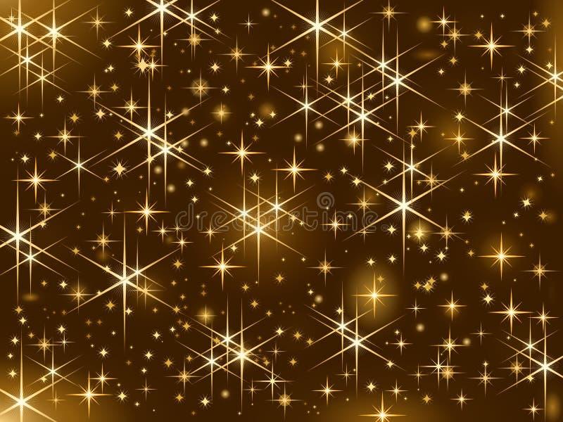 Glänzende goldene Sterne, Weihnachtsschein, sternenklarer Himmel lizenzfreie abbildung