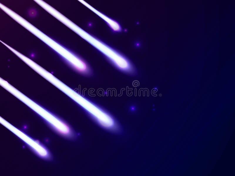 Glänzende helle Strahlen schleppen auf blauem Hintergrund vektor abbildung