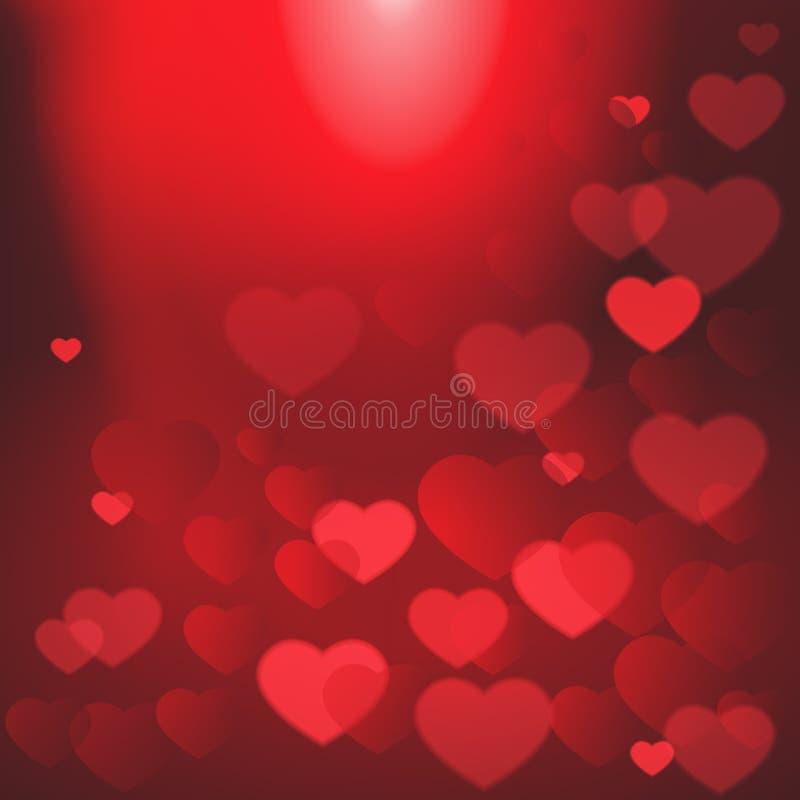 Glänzende Herzen Bokeh Valentine Day Background Template Poster lizenzfreie abbildung