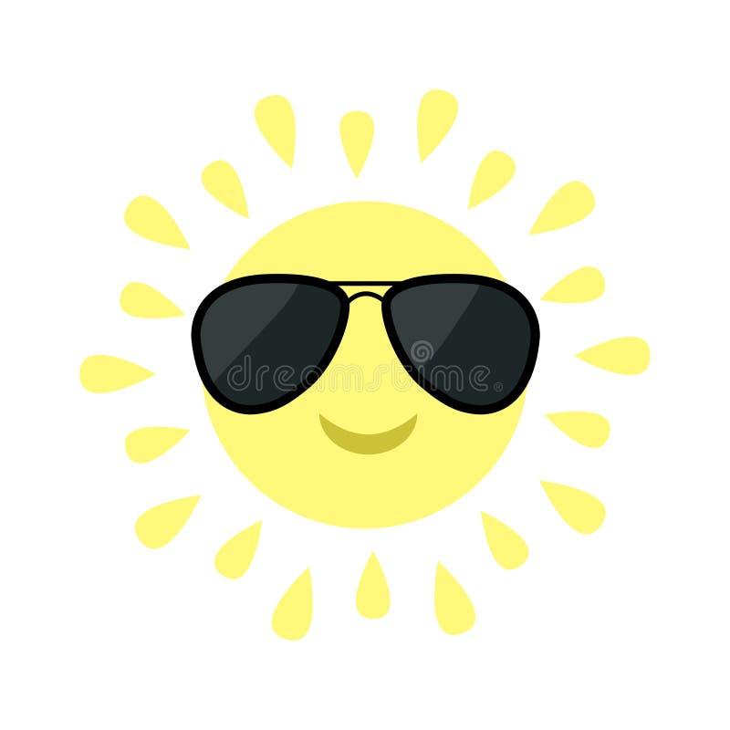 Glänzende Ikone Sun Sun stellen mit schwarzen Versuchs-sunglassess gegenüber Lustiger lächelnder Charakter der netten Karikatur W vektor abbildung