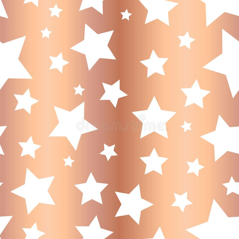 Glänzende kupferne Folie spielt nahtloses Vektormuster die Hauptrolle Weiße Sternformen auf rosafarbenem goldenem Hintergrund Gol lizenzfreie abbildung
