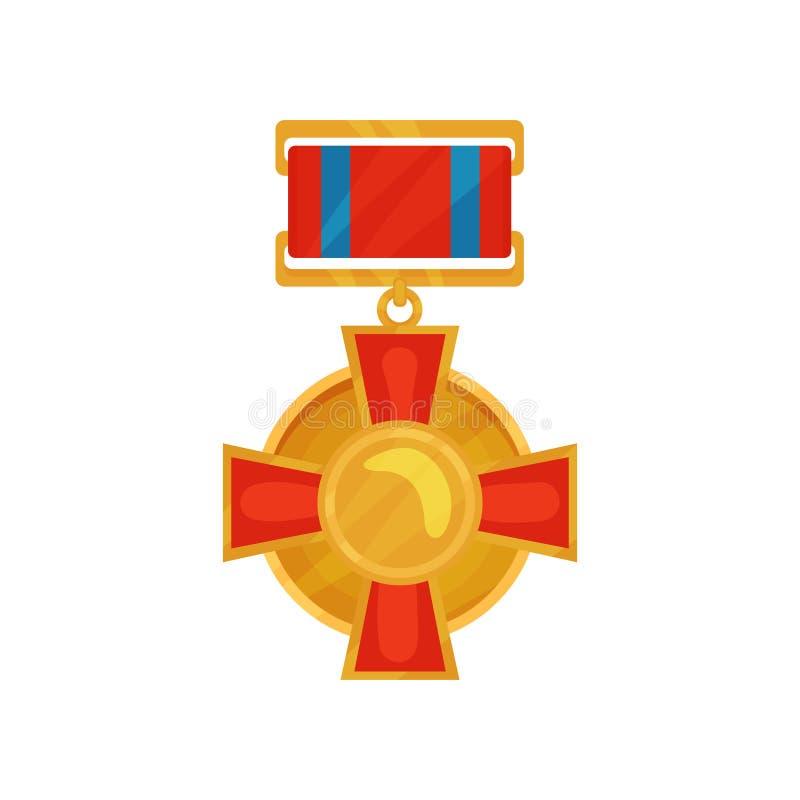 Glänzende Medaille in der Kreisform mit rotem Kreuz Goldene Belohnung für Ehre Militär spricht zu Flache Vektorikone lizenzfreie abbildung