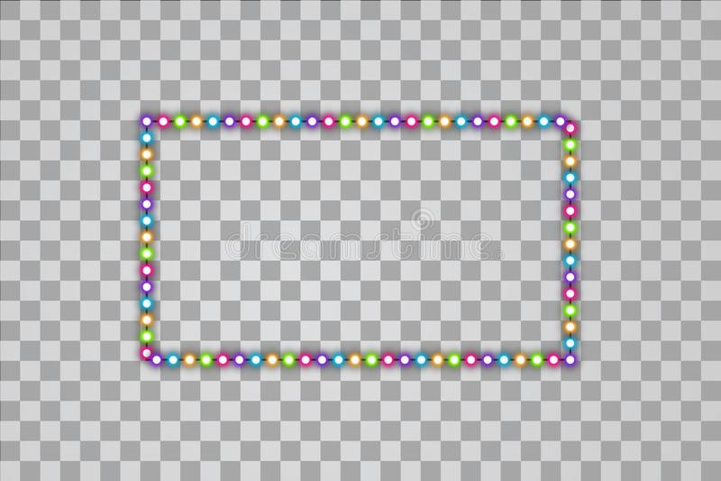 Glänzende mehrfarbige geführte Vektorrechteckrahmen, Neonbeleuchtung auf transparentem Hintergrund Glühen dekorativ vektor abbildung