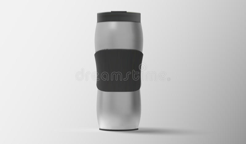 Glänzende metallische Thermoreisekarte für Kaffee, Vektorillustration stock abbildung