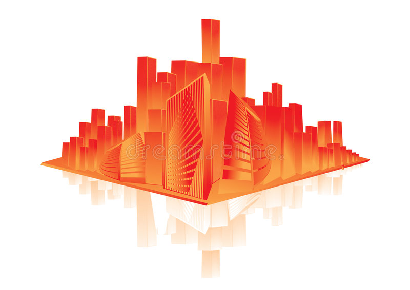 Glänzende orange Stadt lizenzfreie abbildung