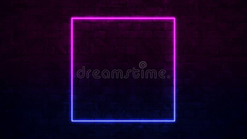 Glänzende quadratische Leuchtreklame Purpur und blauer Neonrahmen Dunkle Backsteinmauer 3d ?bertragen lizenzfreie abbildung