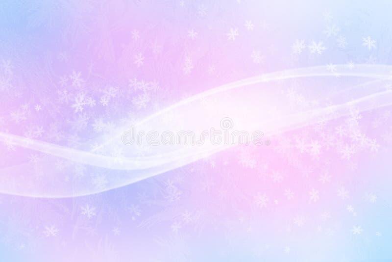Glänzende Schneeflocken des Winters verwischten Hintergrund in den hellblauen rosa Farben stock abbildung
