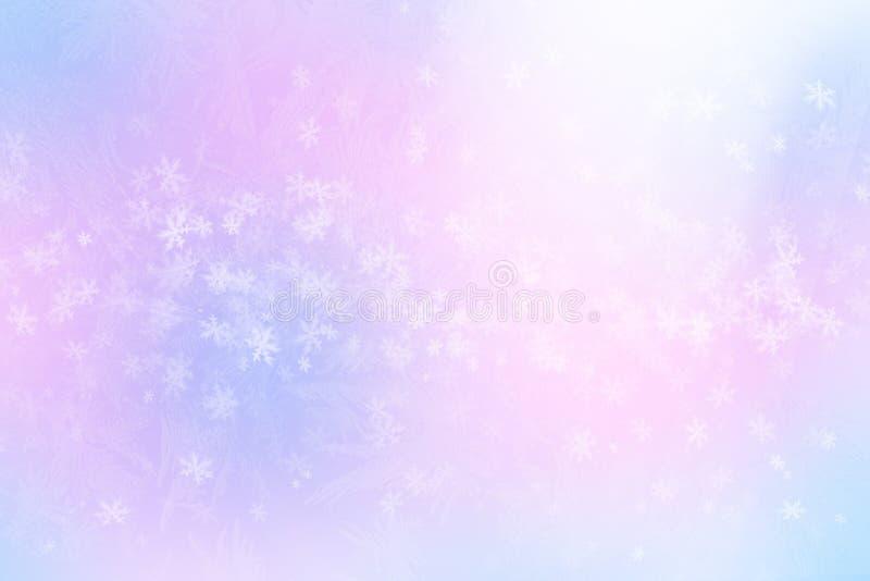 Glänzende Schneeflocken des Winters verwischten Hintergrund in den hellblauen rosa Farben lizenzfreie abbildung