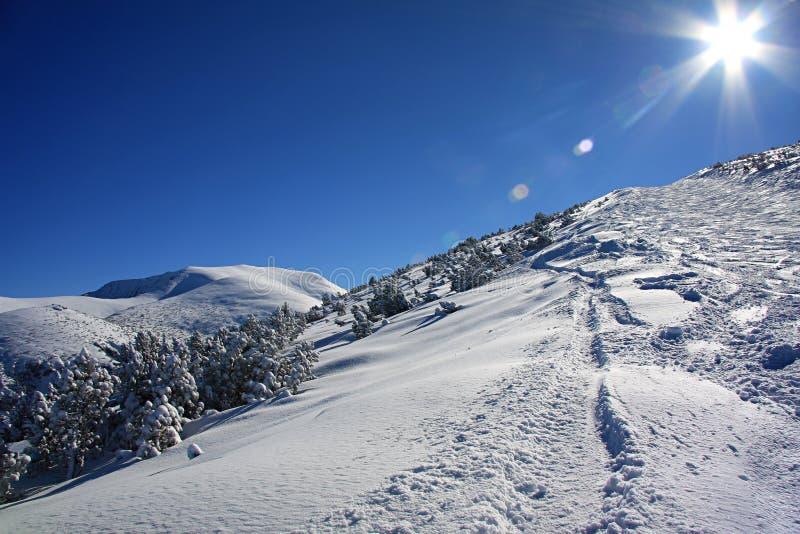 Glänzende Sonne in den Winter Rila Bergen, Bulgarien lizenzfreies stockbild