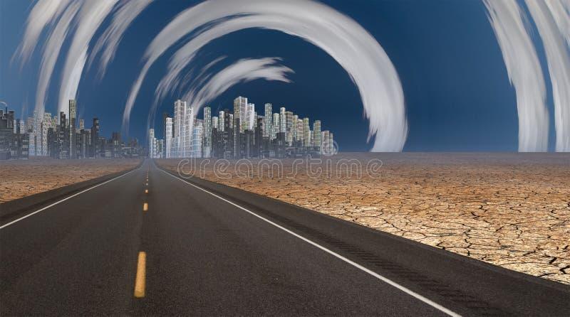Glänzende Stadt in der Wüste mit Wolken stock abbildung