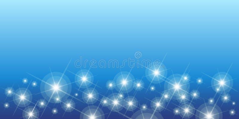 Glänzende Sterne auf blauem nahtlosem horizontalem Muster stock abbildung