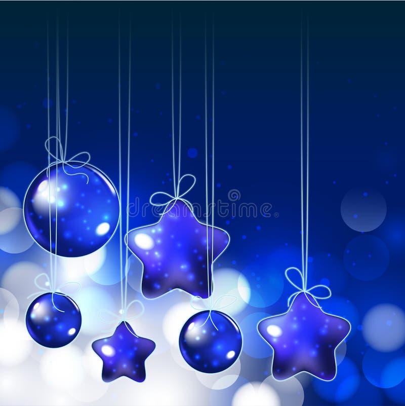 Glänzende Verzierungen und Lichter auf blauem Hintergrund für heiliges Weihnachten vektor abbildung