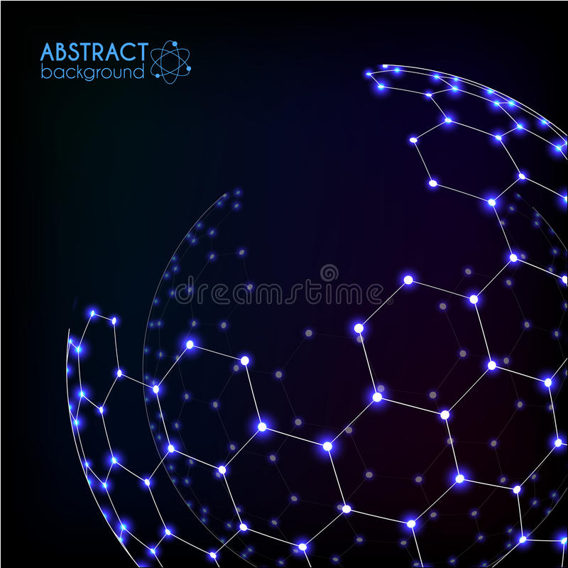 Glänzender Bereich des blauen glänzenden kosmischen sechseckigen Gittervektors vektor abbildung