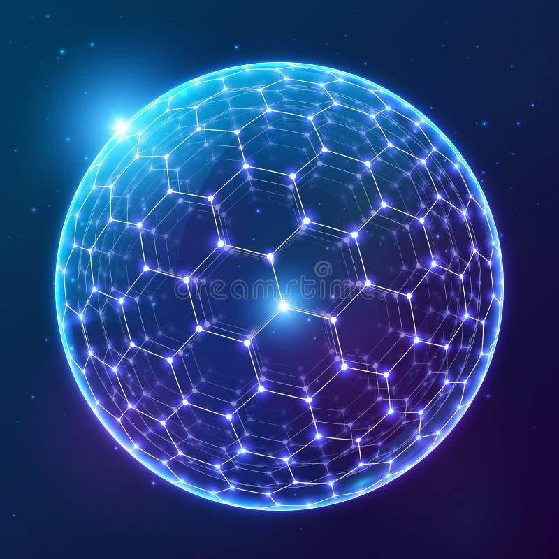 Glänzender Bereich des blauen Vektors mit sechseckiger Oberfläche auf dunklem kosmischem Hintergrund stock abbildung