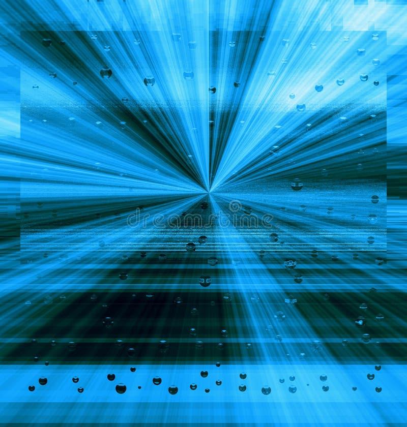 Glänzender blauer Hintergrund mit transparenten Bereichen des Fliegens stockbild