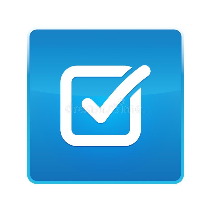 Glänzender blauer quadratischer Knopf der Auswahlkästchenikone stock abbildung