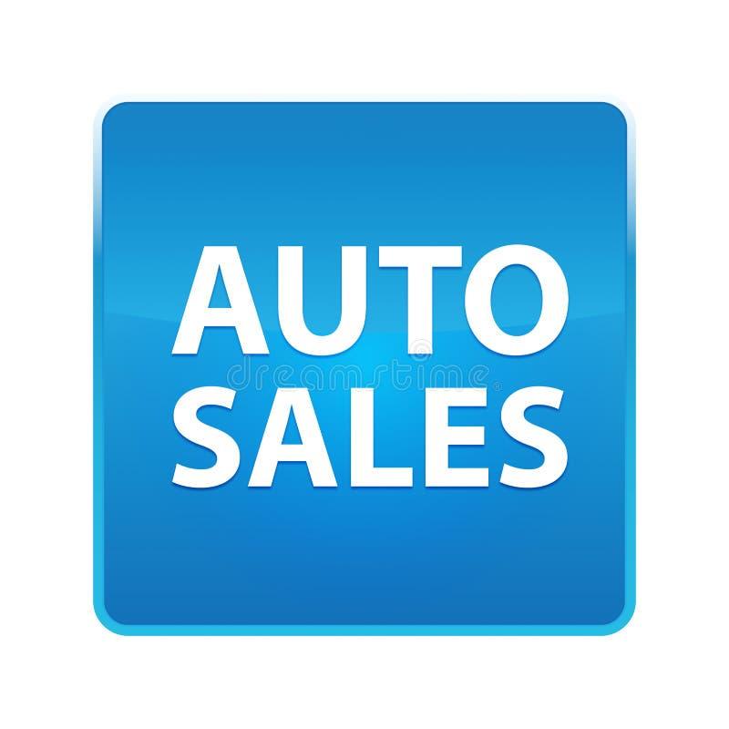 Glänzender blauer quadratischer Knopf der Autoverkäufe lizenzfreie abbildung
