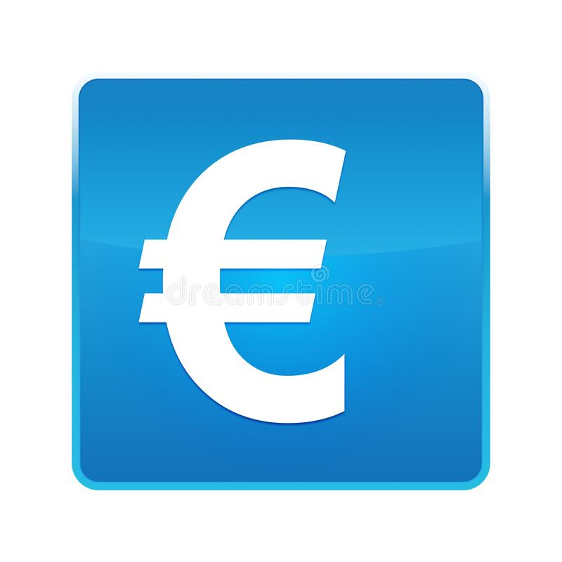 Glänzender blauer quadratischer Knopf der Eurozeichenikone lizenzfreie abbildung